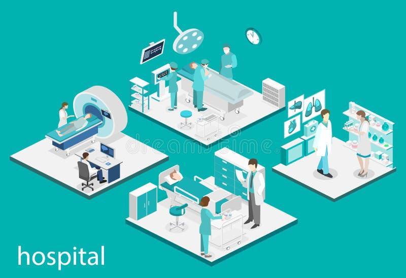 Interno piano isometrico della stanza di ospedale, farmacia, ufficio del ` s di medico, aspettante, ricezione illustrazione di stock