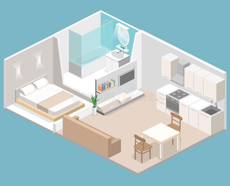 Interno piano isometrico di concetto 3D degli appartamenti di studio illustrazione vettoriale
