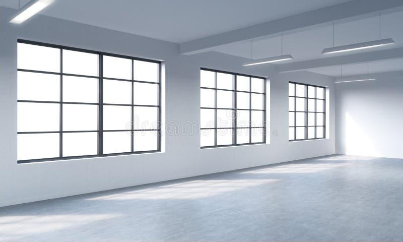 Interno pulito luminoso moderno di uno spazio aperto di stile del sottotetto Finestre enormi e pareti bianche Copi lo spazio le f illustrazione vettoriale