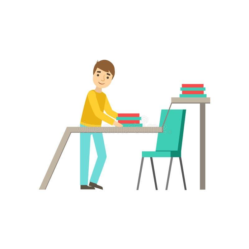 Interno que se extiende las carpetas en el escritorio, Coworking en atmósfera informal en la oficina conceptora moderna Infograph libre illustration