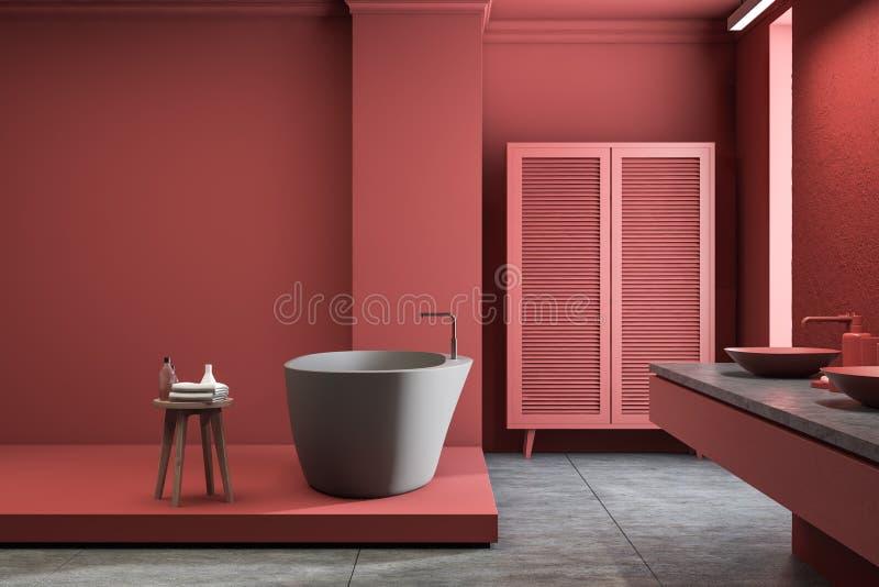 Interno rosso del bagno con il guardaroba, la vasca ed il lavandino royalty illustrazione gratis