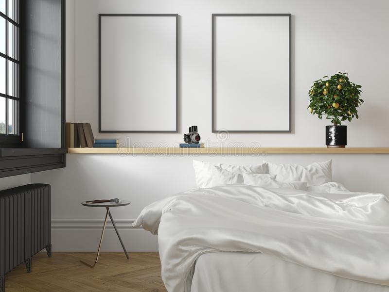 Interno scandinavo classico bianco della camera da letto del sottotetto 3d rendono la derisione dell'illustrazione su illustrazione di stock