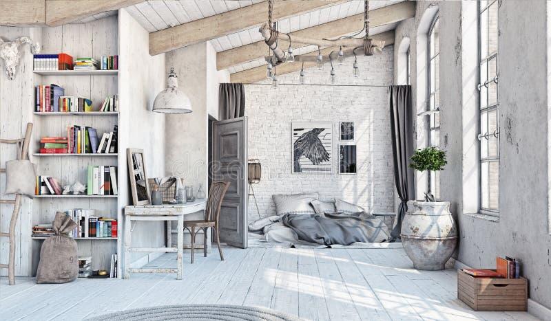Interno scandinavo della camera da letto illustrazione di stock