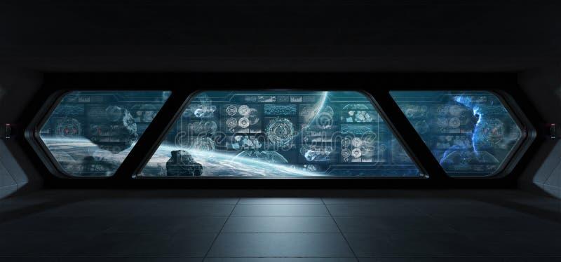 Interno scuro dell'astronave con gli schermi digitali 3D del pannello di controllo con riferimento a illustrazione vettoriale