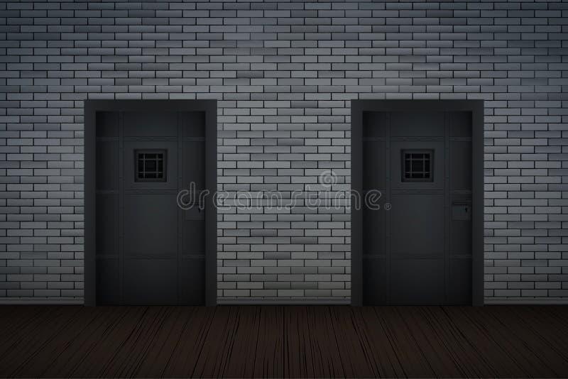 Interno scuro della prigione e del muro di mattoni