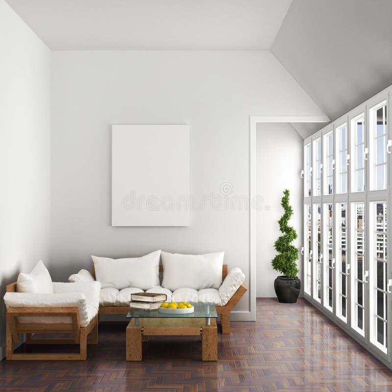 Interno, sofà, poltrona, grandi finestre, illustrazione vettoriale