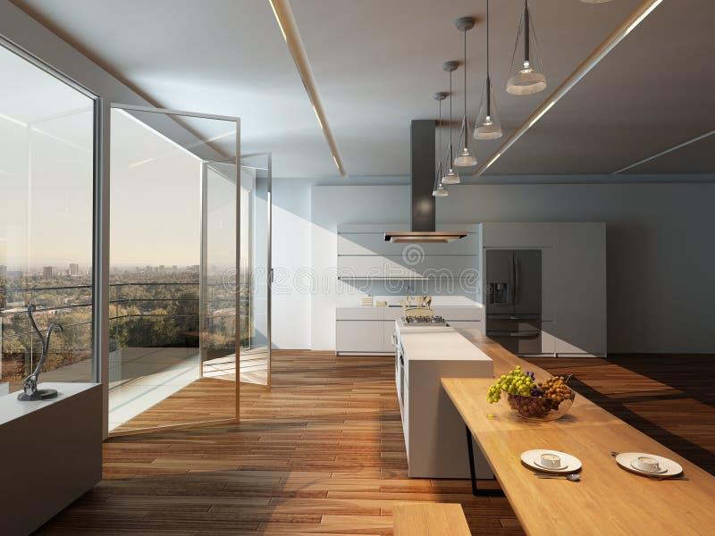 Interno soleggiato moderno della cucina con il pavimento for Pavimento interno moderno