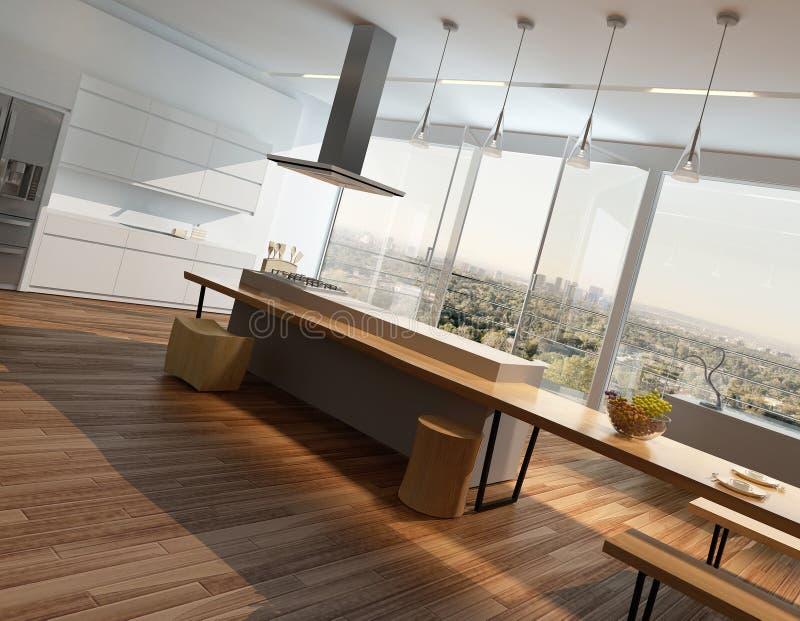 Interno soleggiato moderno della cucina con il pavimento for Pavimento in legno interno