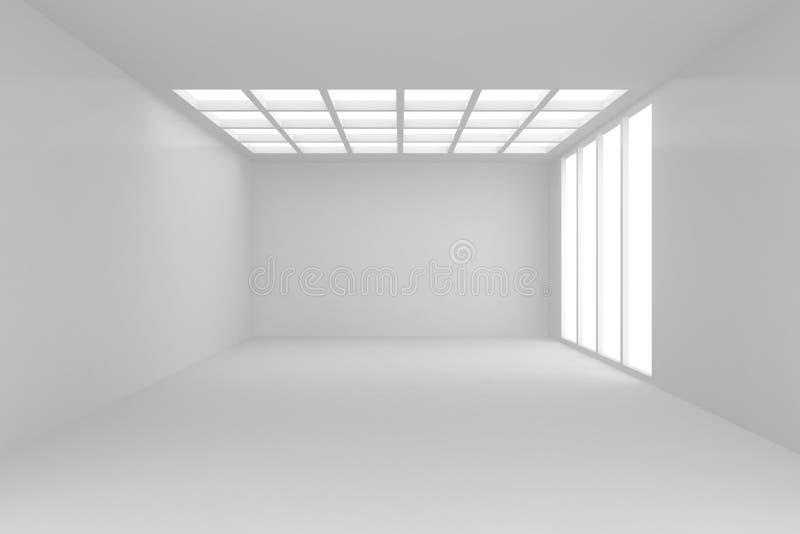 Interno spazioso con la parete in bianco e le finestre panoramiche Derisione su, rappresentazione 3D fotografia stock libera da diritti