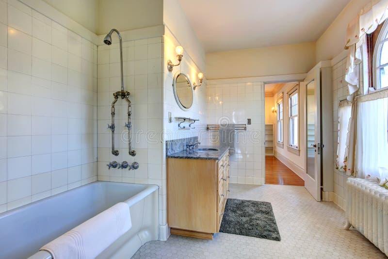 Interno spazioso del bagno con il gabinetto di vanità immagine stock