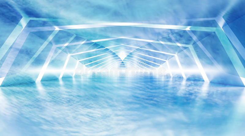 Interno surreale brillante nuvoloso blu astratto del tunnel illustrazione di stock