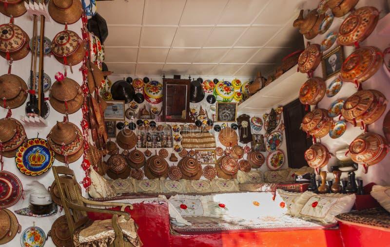 Interno tipico della casa tradizionale Harar Jugol l'etiopia fotografie stock