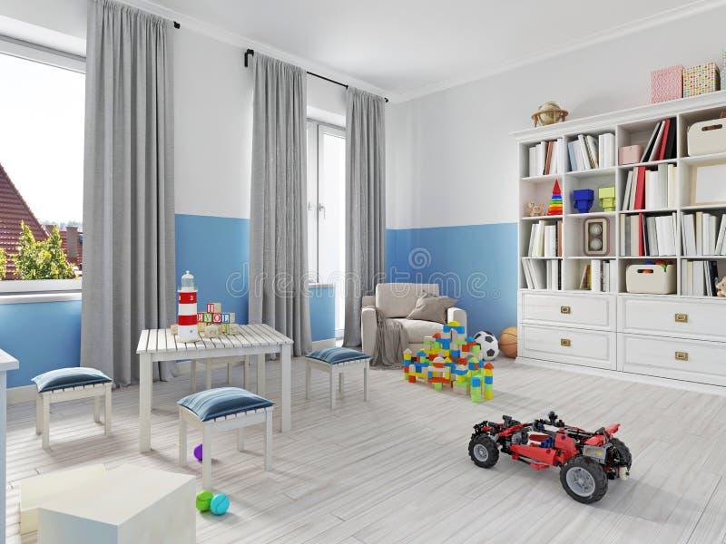 Interno variopinto della stanza dei bambini con lo scaffale, letto, cuscino, SH illustrazione vettoriale