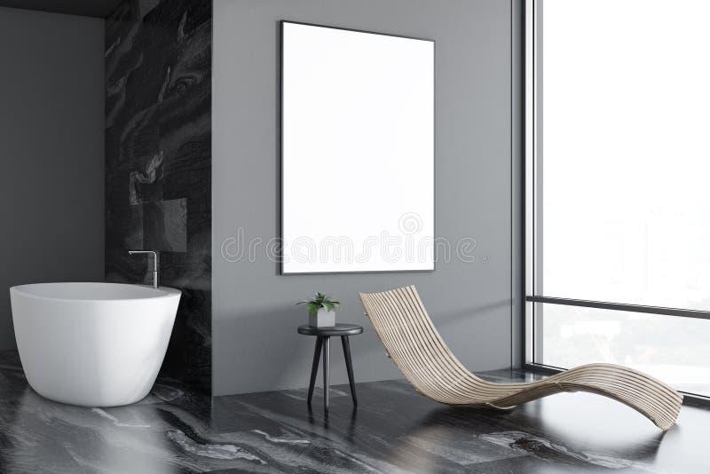 Interno, vasca e manifesto di lusso grigi del bagno illustrazione di stock