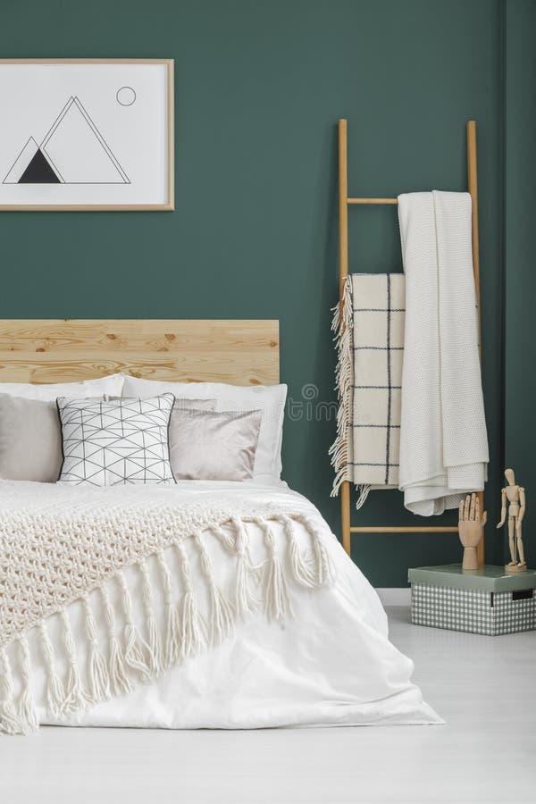 Interno verde della camera da letto di boho immagini stock