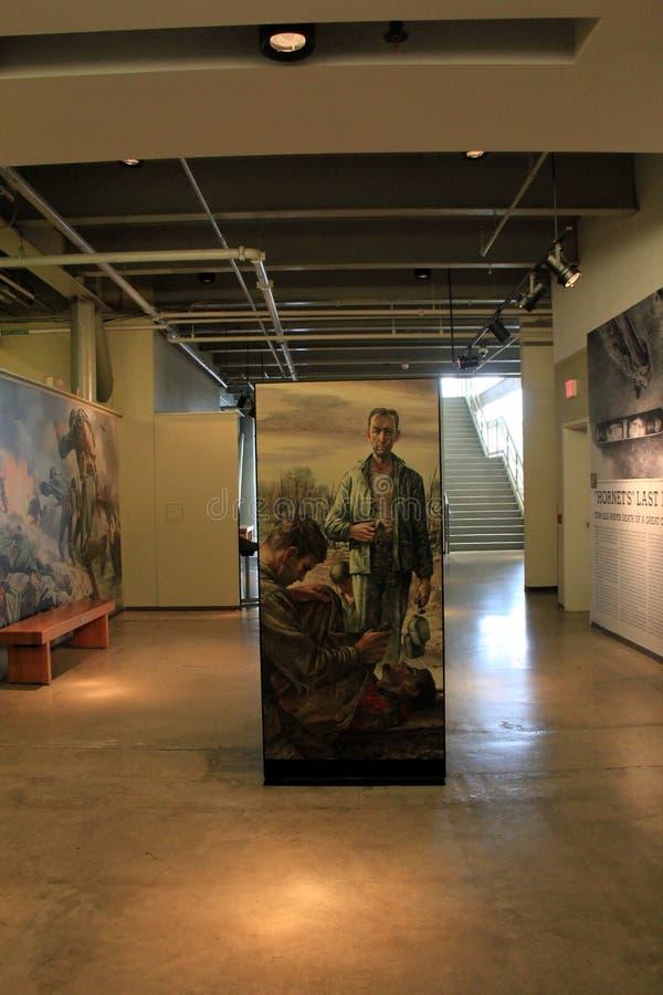 Interno visto mostre muoventesi uno di molte stanze, museo di WWII, New Orleans, 2016 fotografie stock