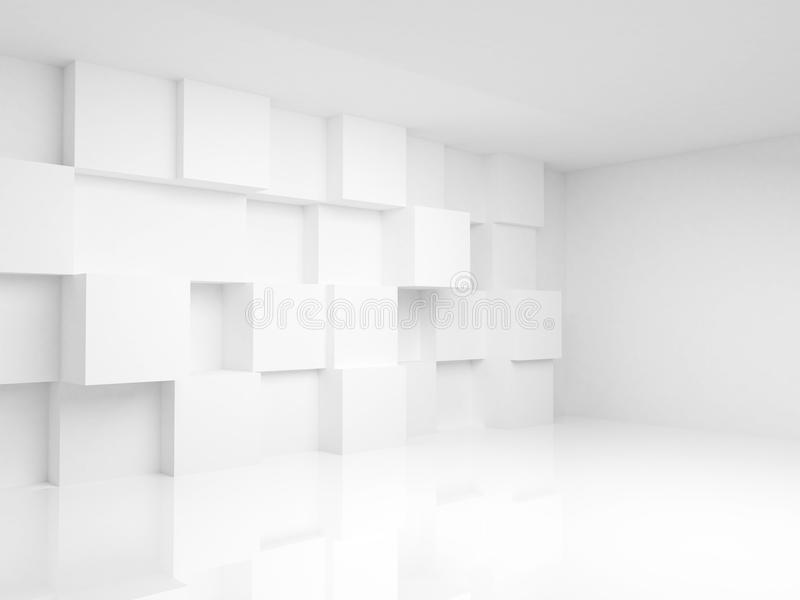 Interno vuoto astratto 3d con i cubi bianchi illustrazione di stock