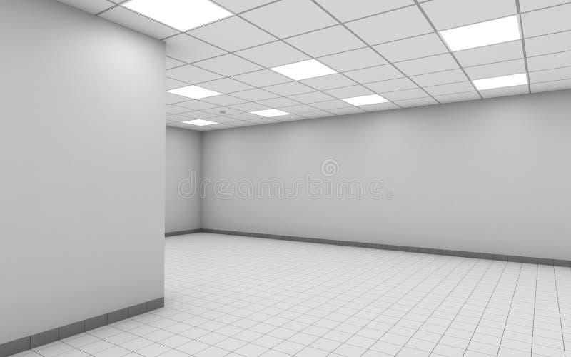 Interno vuoto astratto della stanza dell'ufficio con la parete bianca 3d illustrazione di stock