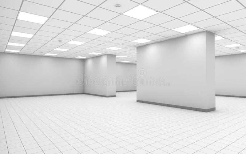 Interno vuoto bianco astratto della stanza dell'ufficio con la colonna royalty illustrazione gratis