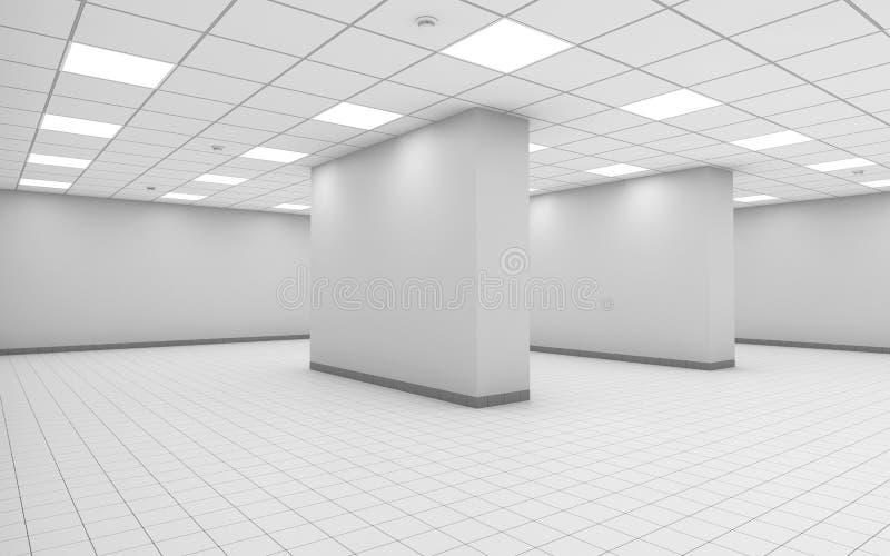 interno vuoto bianco astratto della stanza dell'ufficio 3d royalty illustrazione gratis