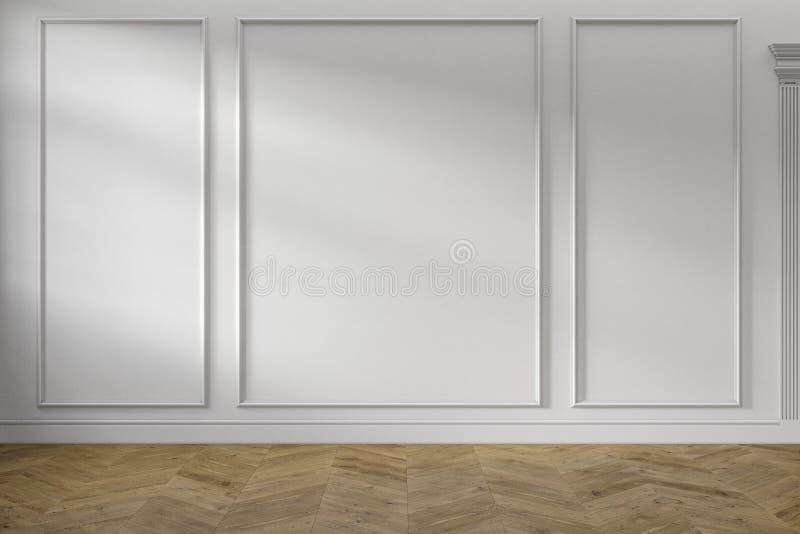Interno vuoto bianco classico moderno con i pannelli di parete ed il pavimento di legno immagini stock