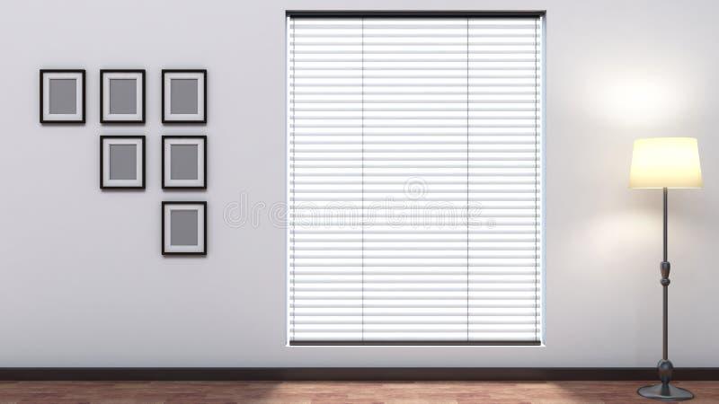 Interno vuoto bianco con i ciechi illustrazione di stock