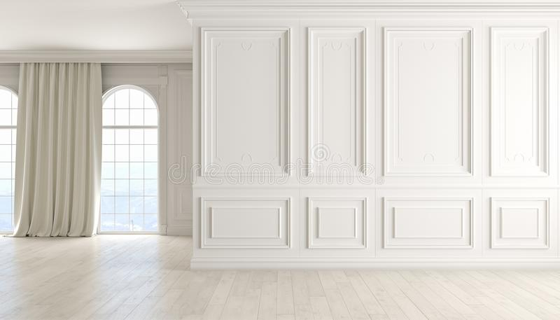 Interno vuoto classico con la parete bianca, il pavimento di legno, la finestra e la tenda immagini stock libere da diritti