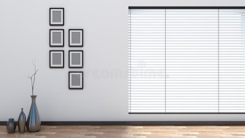 Interno vuoto con i ciechi illustrazione di stock