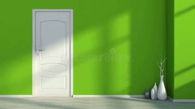 Interno vuoto con una parete e un vaso verdi royalty illustrazione gratis