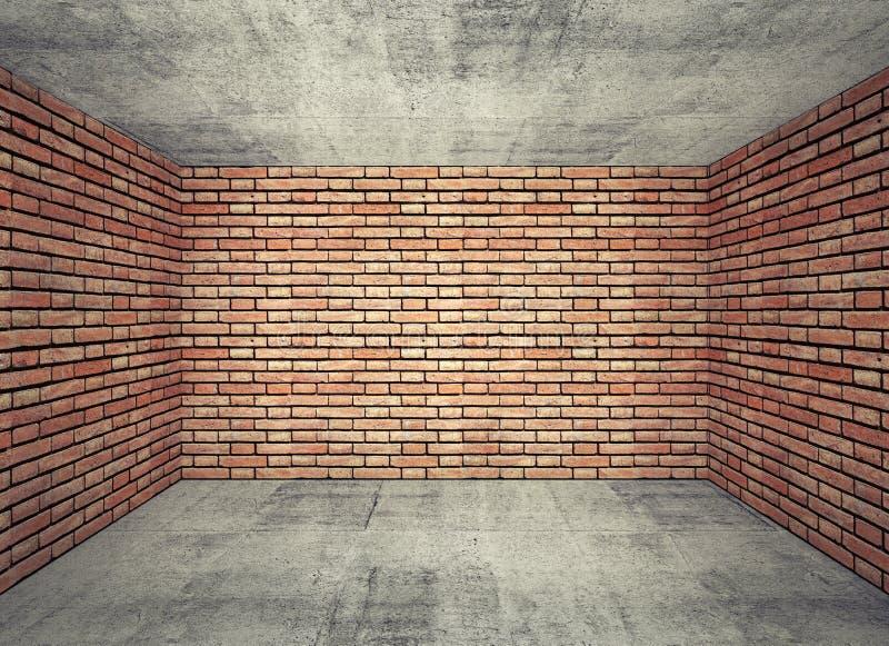 Interno vuoto della stanza con i mura di mattoni rossi ed il pavimento di calcestruzzo grigio illustrazione di stock