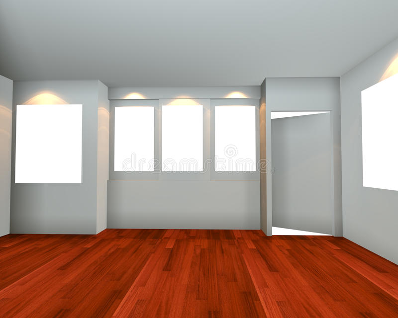 Interno vuoto della stanza con la parte anteriore bianca di vista della tela illustrazione di stock