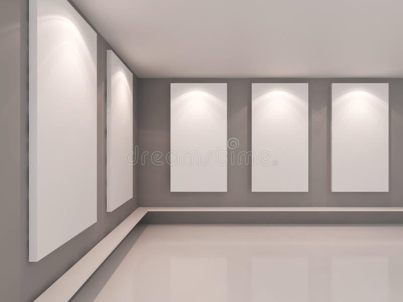 Interno vuoto della stanza con tela bianca sulla parete di colore royalty illustrazione gratis