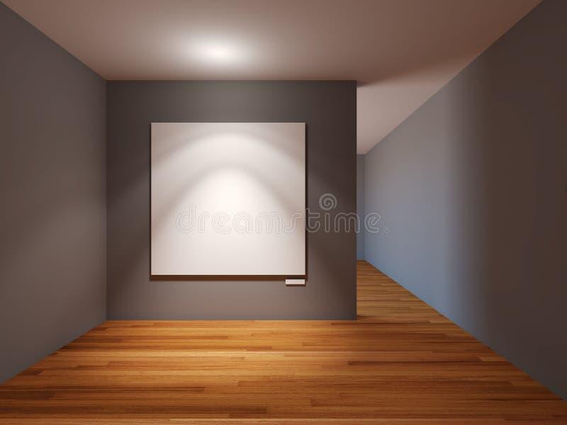 Interno vuoto della stanza con tela bianca sulla parete grigia nel galler royalty illustrazione gratis
