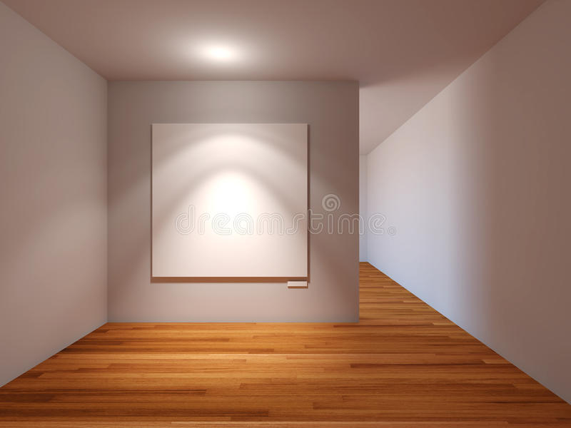 Interno vuoto della stanza con tela bianca sulla parete grigia nel galler illustrazione vettoriale