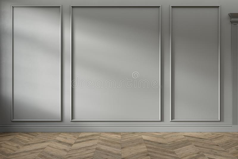 Interno vuoto grigio classico moderno con i pannelli di parete ed il pavimento di legno fotografia stock