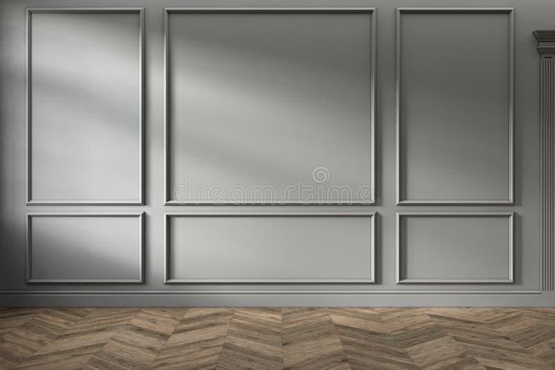 Interno vuoto grigio classico moderno con i pannelli di parete ed il pavimento di legno immagine stock