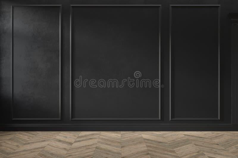 Interno vuoto nero classico moderno con i pannelli di parete ed il pavimento di legno fotografie stock