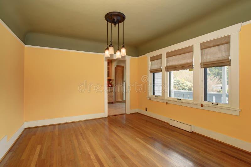 Interno vuoto non ammobiliato della stanza nei toni gialli e verdi fotografie stock libere da diritti