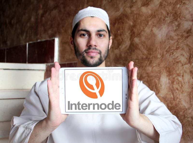Internode company logo. Logo of Internode company on samsung tablet holded by arab muslim man. Internode Pty Ltd is an Australian Internet service provider ISP royalty free stock photo