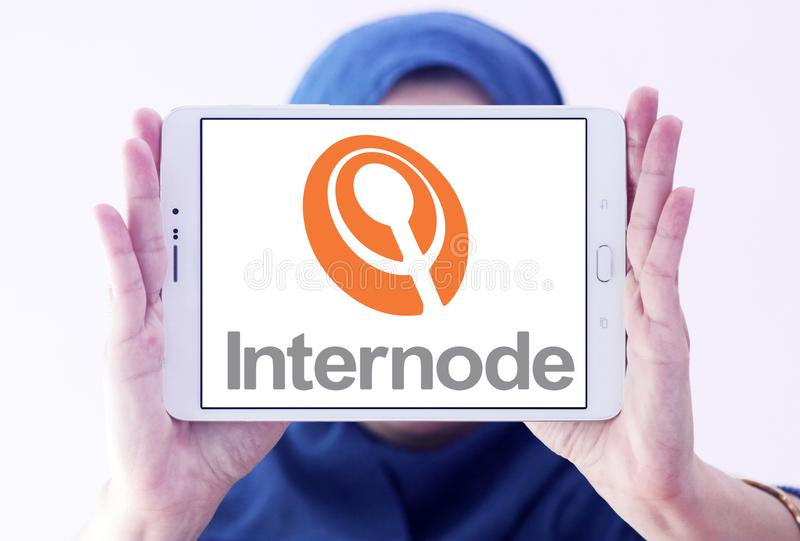 Internode company logo. Logo of Internode company on samsung tablet holded by arab muslim woman. Internode Pty Ltd is an Australian Internet service provider ISP royalty free stock photo