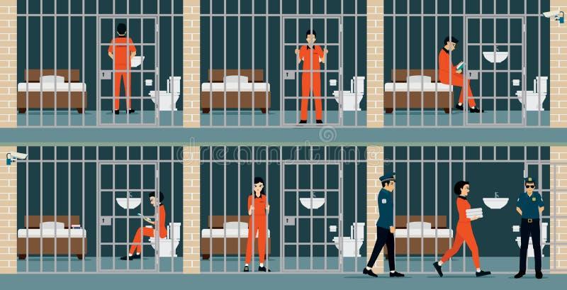 Internos de la prisión stock de ilustración