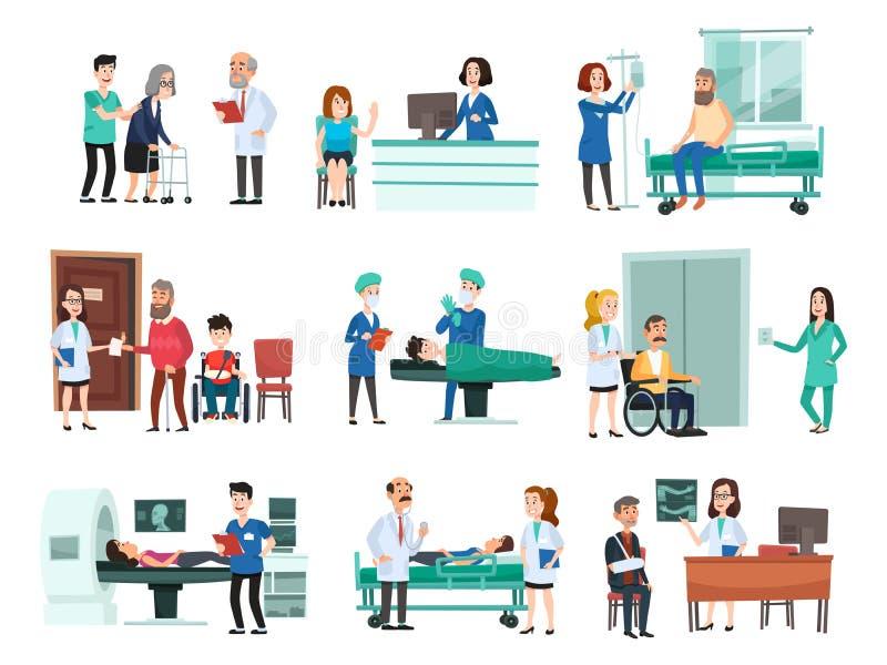 Internos Paciente hospitalizado en cama de hospital, enfermera y doctor que ayudan a vector aislado gente enferma de la historiet stock de ilustración