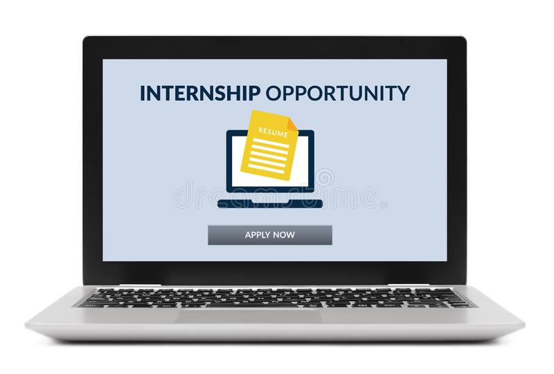 Internship concept on laptop computer screen royalty free stock photography