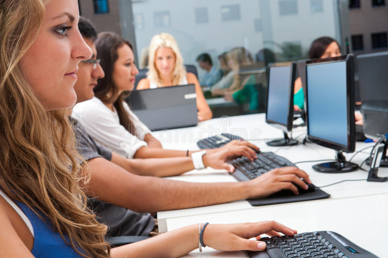 Internship students working in office. stock photos