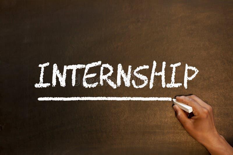 Internship Word On Blackboard. Internship handwriting with chalk on blackboard. Business concept stock photography