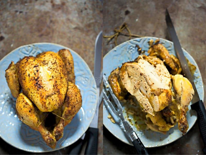Intero e dittico scolpito del pollo arrostito immagini stock libere da diritti