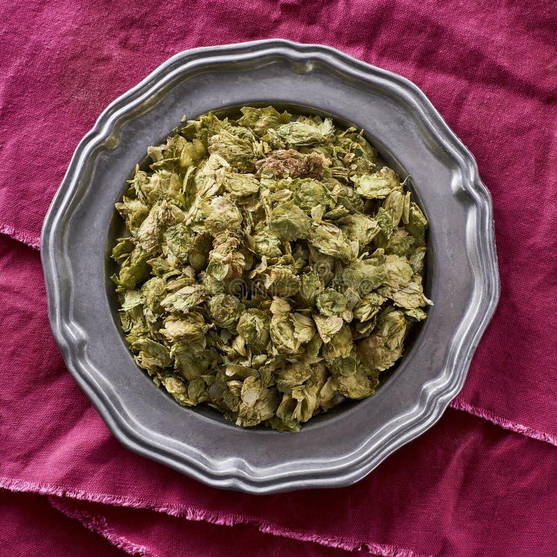 Intero luppolo secco utilizzato in birra che fa humulus lupulus immagine stock libera da diritti