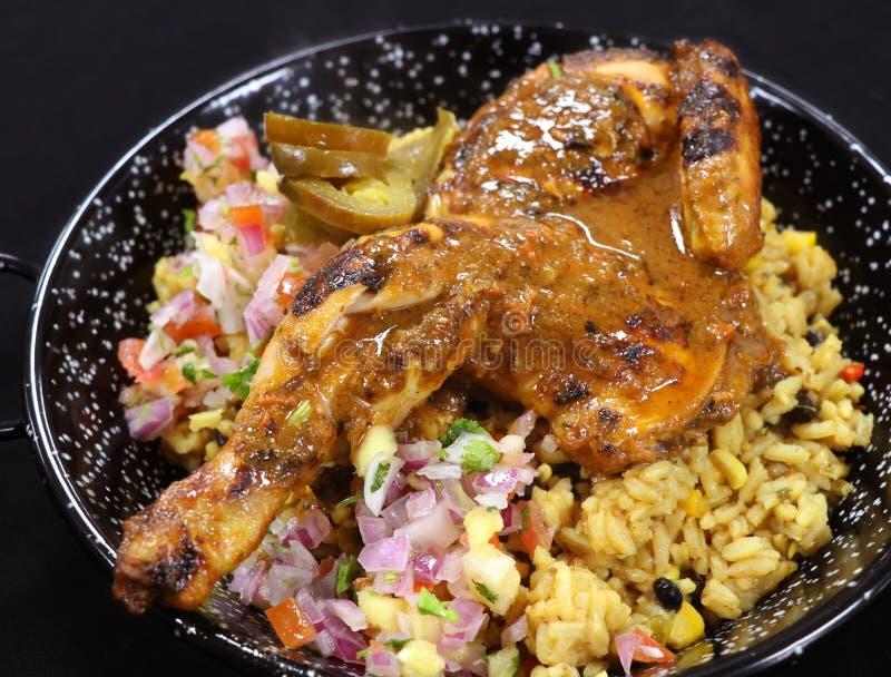 Intero pollo del bambino arrostito spezia con riso aromatizzato immagini stock libere da diritti
