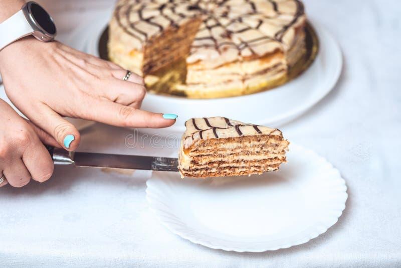Intero torte esterhazy e una fetta di dolce sul coltello Le mani della donna lo tengono ricetta autentica, ungherese ed austriaco immagine stock libera da diritti