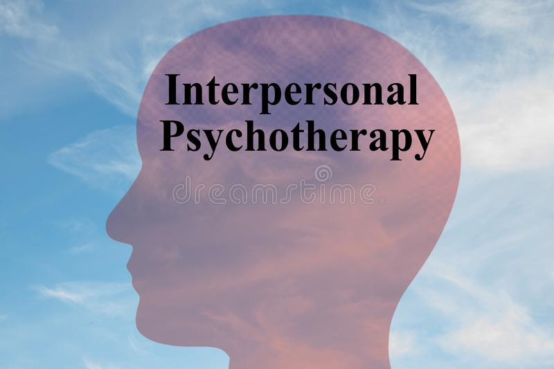 Interpersonal Psychotherapy concept. Render illustration of Interpersonal Psychotherapy title on head silhouette, with cloudy sky as a background, aa, group stock photo